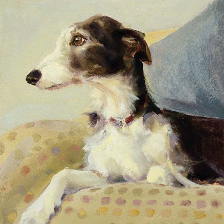 Lurcher on Spots by Claire Eastgate, Fine Art Greeting Card, Oil on Canvas, Lurcher on spotty blanket
