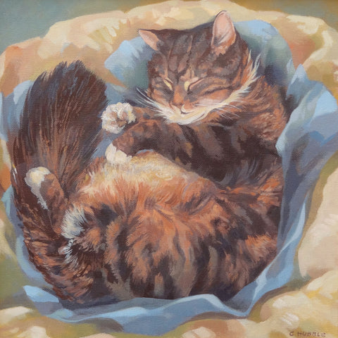 Puss Asleep by Carole Hubble, Fine Art Greeting Card, RBA range, Cat asleep
