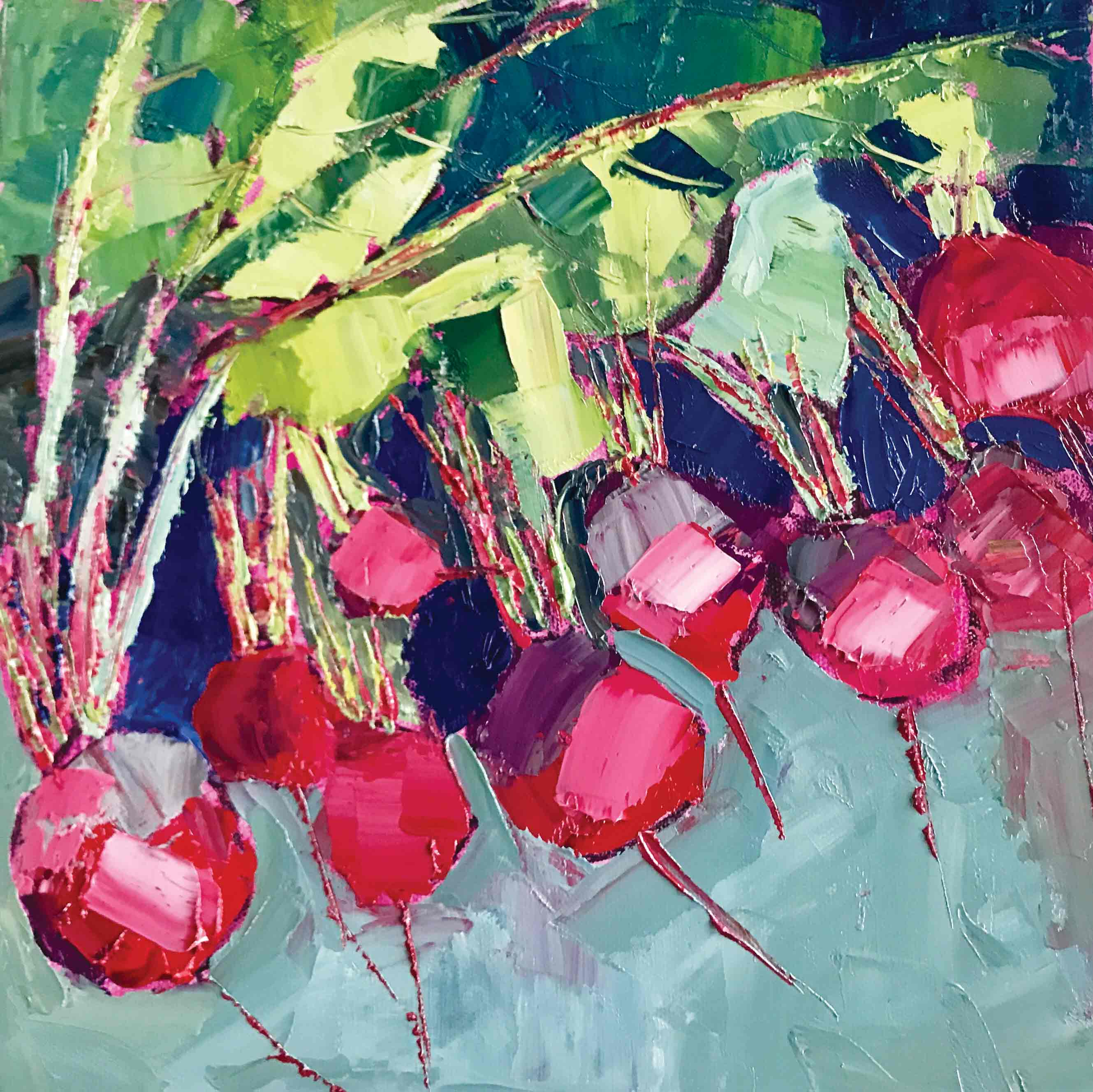 Art Greeting Card by Colette Clegg, Chioggia Beets, Oil painting, Beets