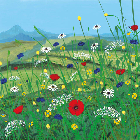 Art Greeting Card by Carla Vize-Martin, A Day to Remember, Acrylic, Meadow flowers