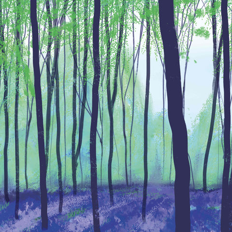 Art Greeting Card by Carla Vize-Martin, Bluebell Wood, Digital Painting, A bluebell wood