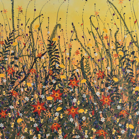 Art Greeting Card by Carla Vize-Martin, Goldrush, Mixed media, Meadow flowers