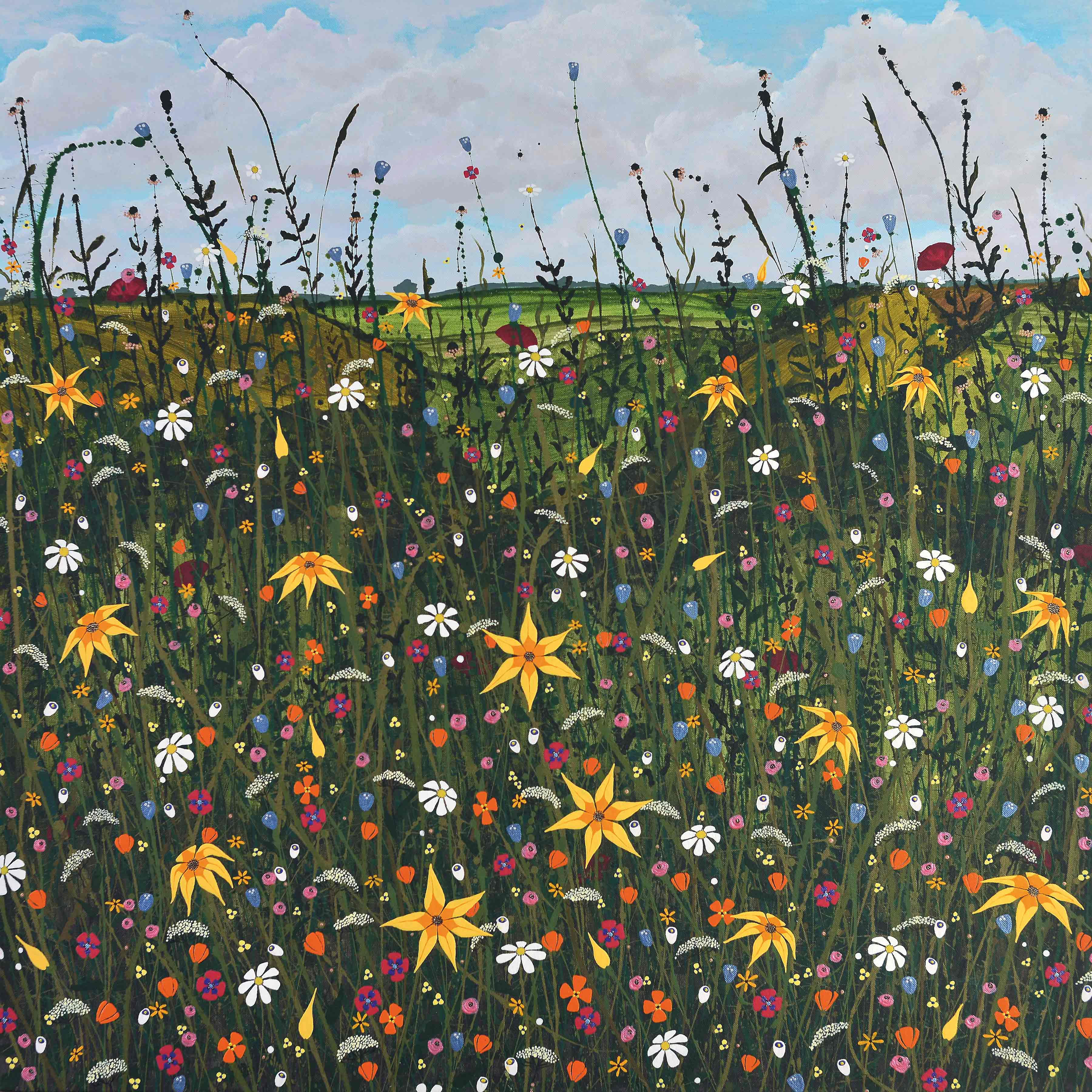 Art Greeting Card by Carla Vize-Martin, Nature's Way, Mixed Media, Flower meadow