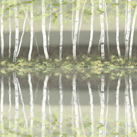 Art Greeting Card by Carla Vize-Martin, Reflecting on Dreams, Digital painting, silver birches reflected in water