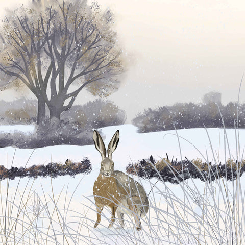 Art greeting card by Carla Vize-Martin, Homeward Bound, digital painting of hare in winter field