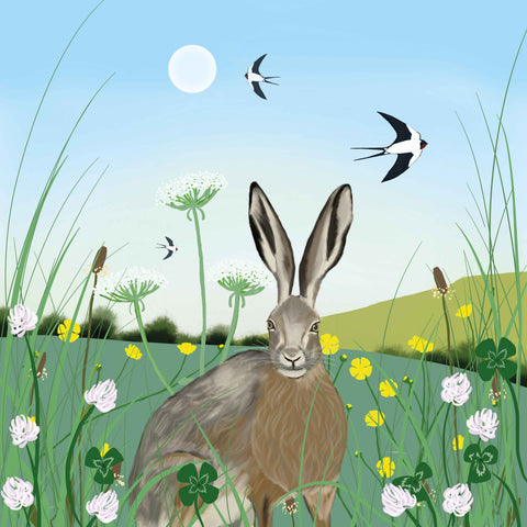 Art greeting card by Carla Vize-Martin, Lucky Clover, digital painting of hare in field with four leaf clover