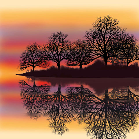 Art greeting card by Carla Vize-Martin, River Sunset, digital painting of sunset and trees