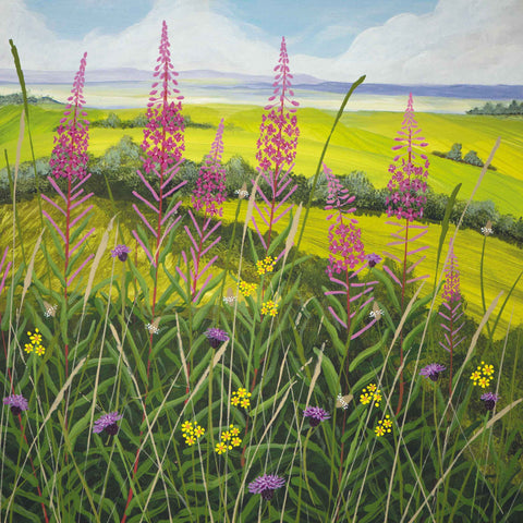 Art greeting card by Carla Vize-Martin, Willow Herb, acrylic on board, landscape with willow herb