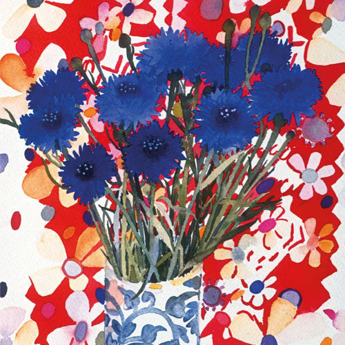 Fine Art Greeting Card, Watercolour and Gouache, Cornflowers in vase