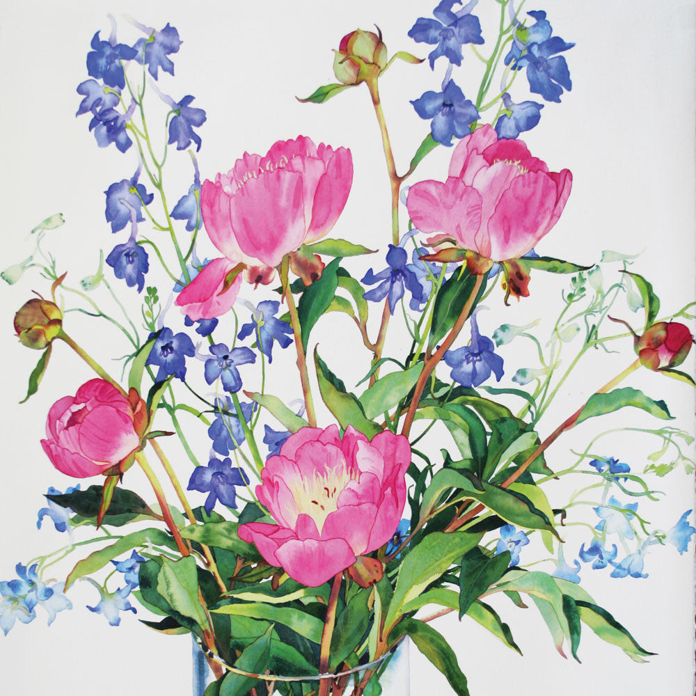 Peonies and Delphiniums by Claire Winteringham, Fine Art Greeting Card, Watercolour and Gouache, Peonies and Delphiniums in vase
