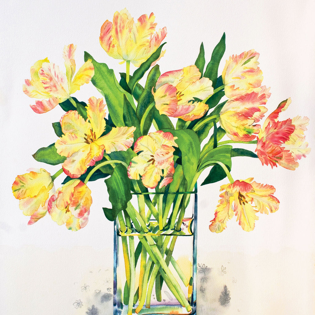 Libretto Tulips by Claire Winteringham, Fine Art Greeting Card, Watercolour and Gouache, Orange Libretto tulips in glass vase
