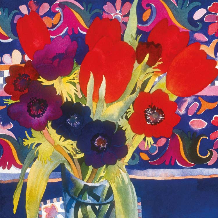 Fine Art Greeting Card, Watercolour and Gouache, Anemones and tulips in vase
