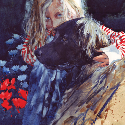 Deux Amies by Chris Myers, Fine Art Greeting Card, Girl with dog