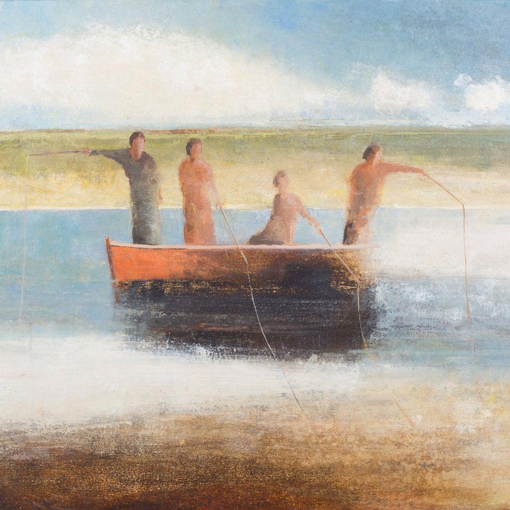 Four Fisherwomen by David Brayne, Fine Art Greeting Card, Pigment and Acrylic on Canvas, Four women fishing from a boat