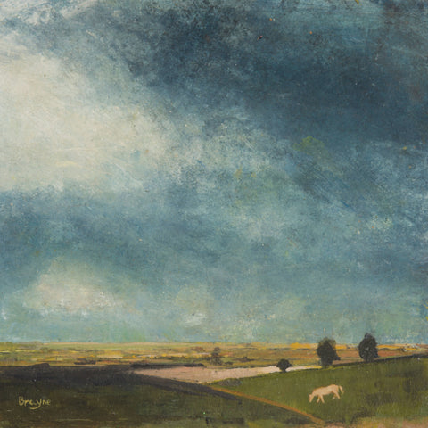 Grey Horse by David Brayne, Fine Art Greeting Card, Pigment and Acrylic on Paper, landscape with grey horse