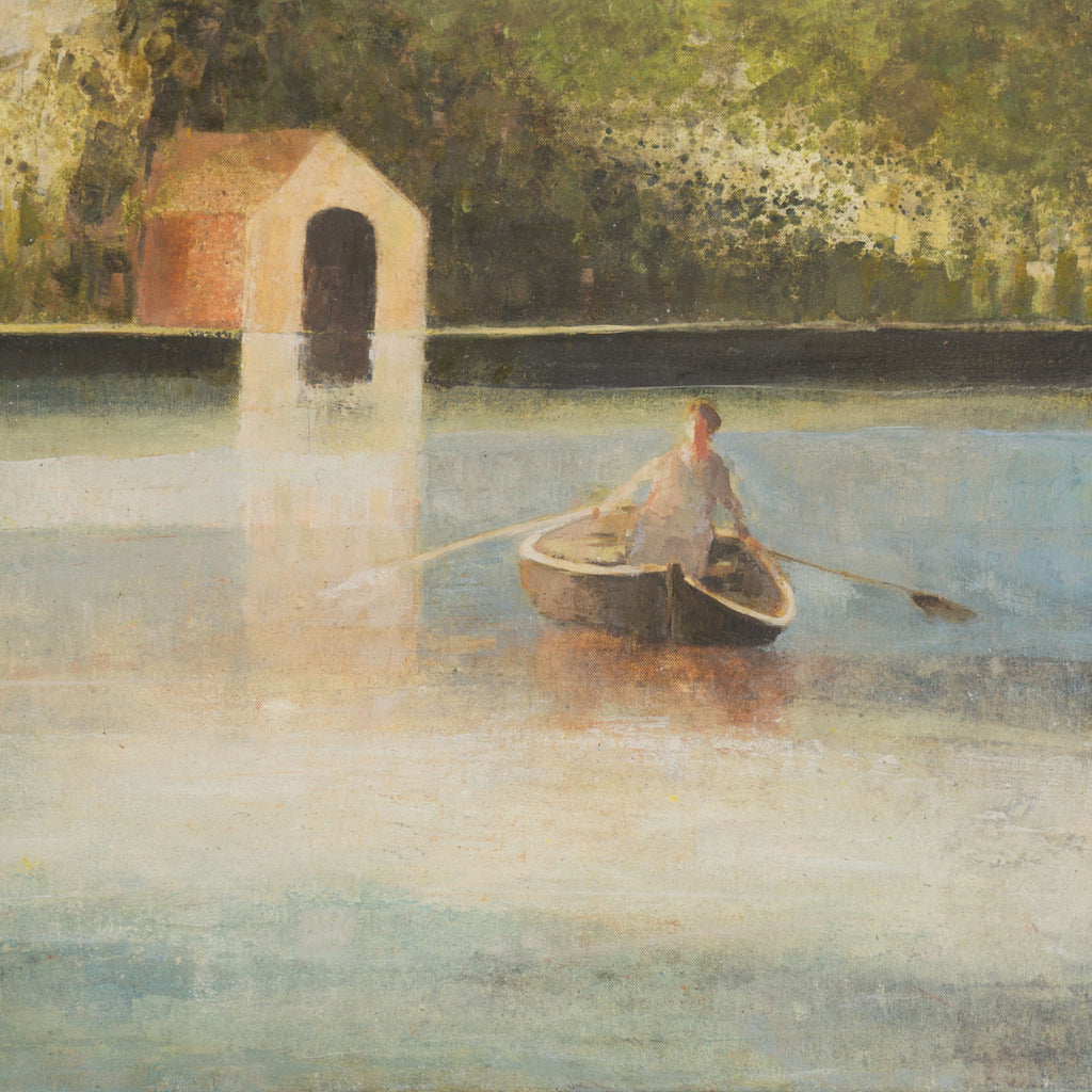 The Boathouse by David Brayne, Fine Art Greeting Card, Pigment and Acrylic on Canvas, Woman rowing boat near boathouse