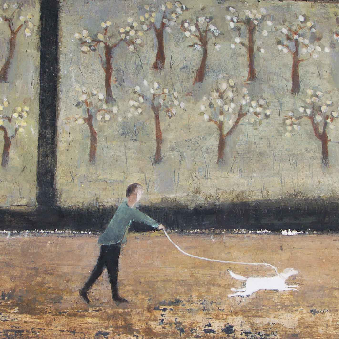 Somerset Orchard by David Brayne, Fine Art Greeting Card, Pigment and Acrylic, Person walking dog in orchard