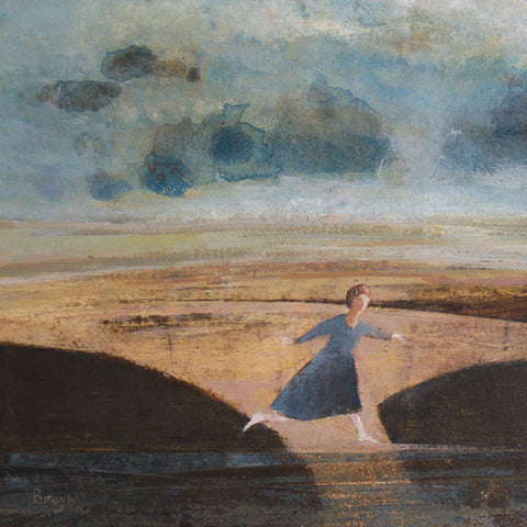 Leap by David Brayne, Fine Art Greeting Card, Pigment and Acrylic, Woman leaping over water