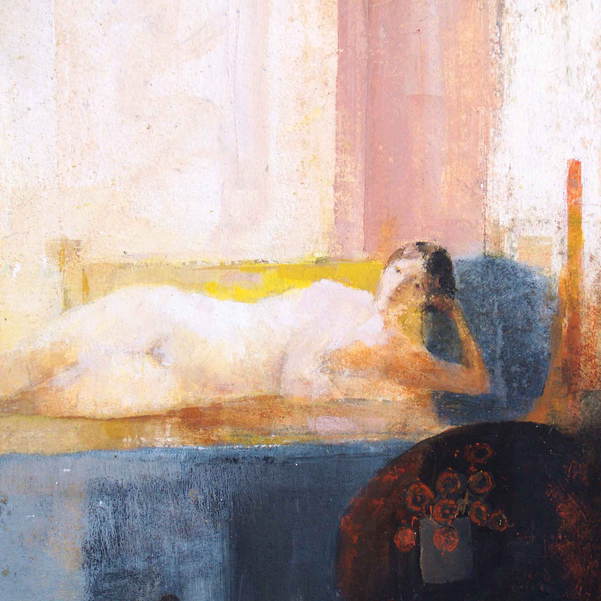 Daybed by David Brayne, Fine Art Greeting Card, Pigment and Acrylic, Nude model