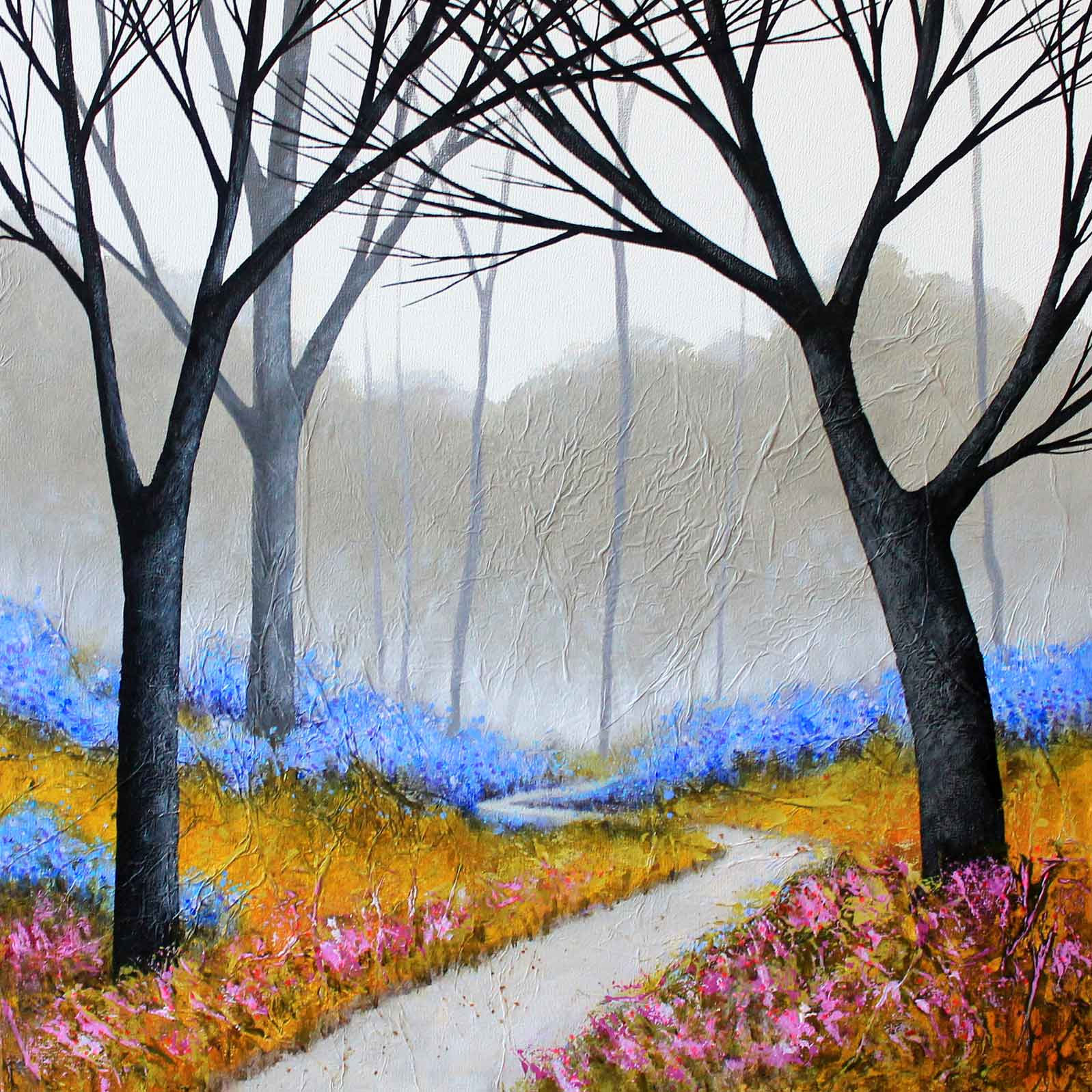 Art greeting card by Deborah Burrow, Acrylic, path through bluebell wood