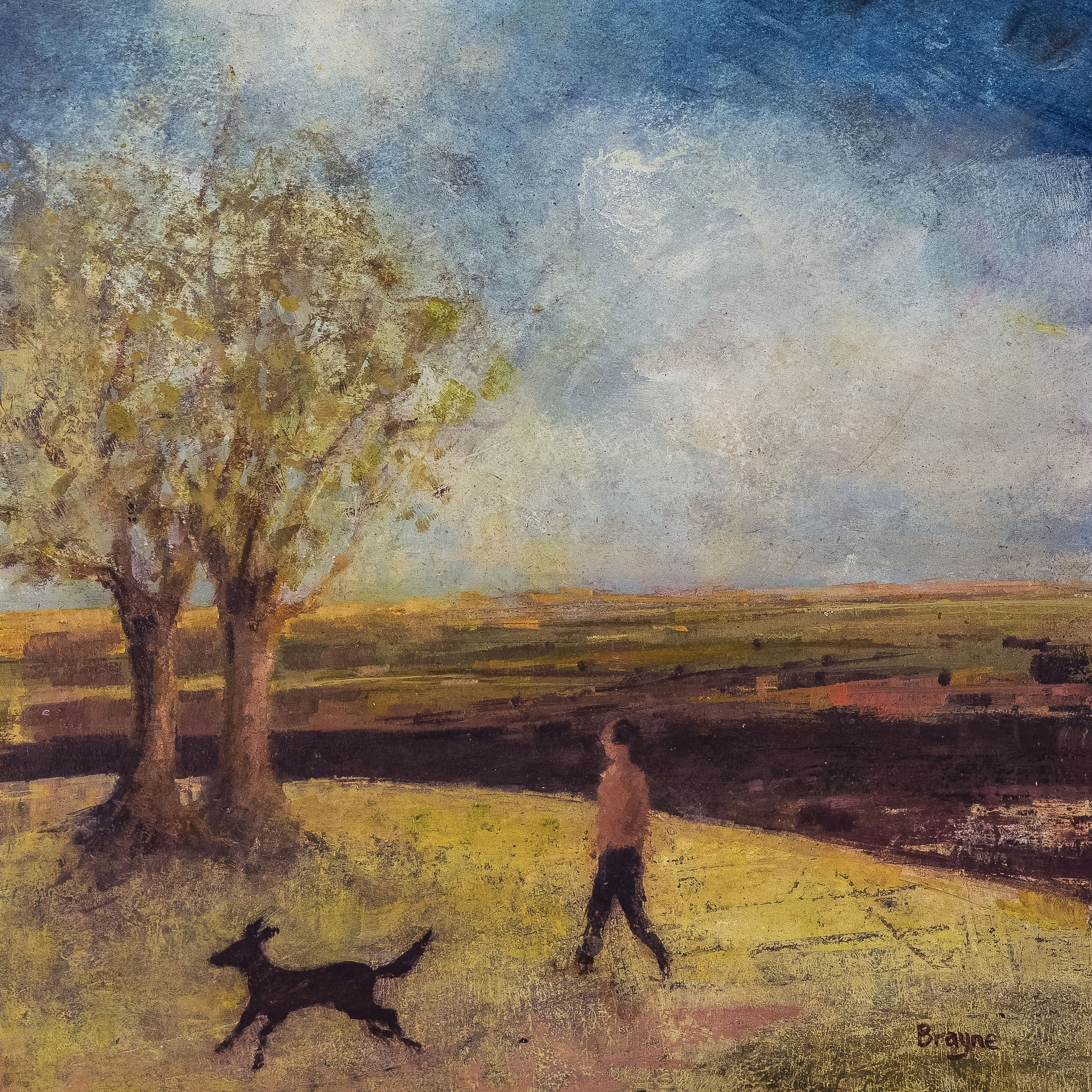 Edge of the Wood by David Brayne, Fine Art Greeting Card, Pigment and Acrylic on Canvas, Landscape with man and dog