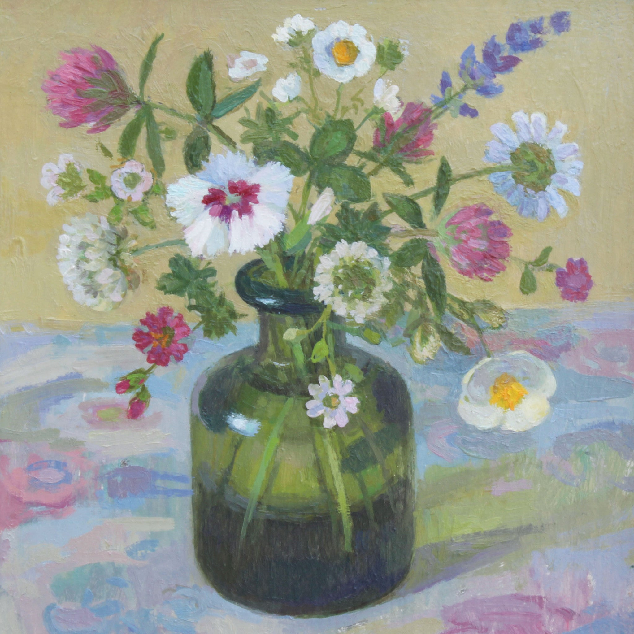 Summer Flowers by Diana Calvert, Fine Art Greeting Card, DRP Award, Oil painting, Green vase with summer flowers