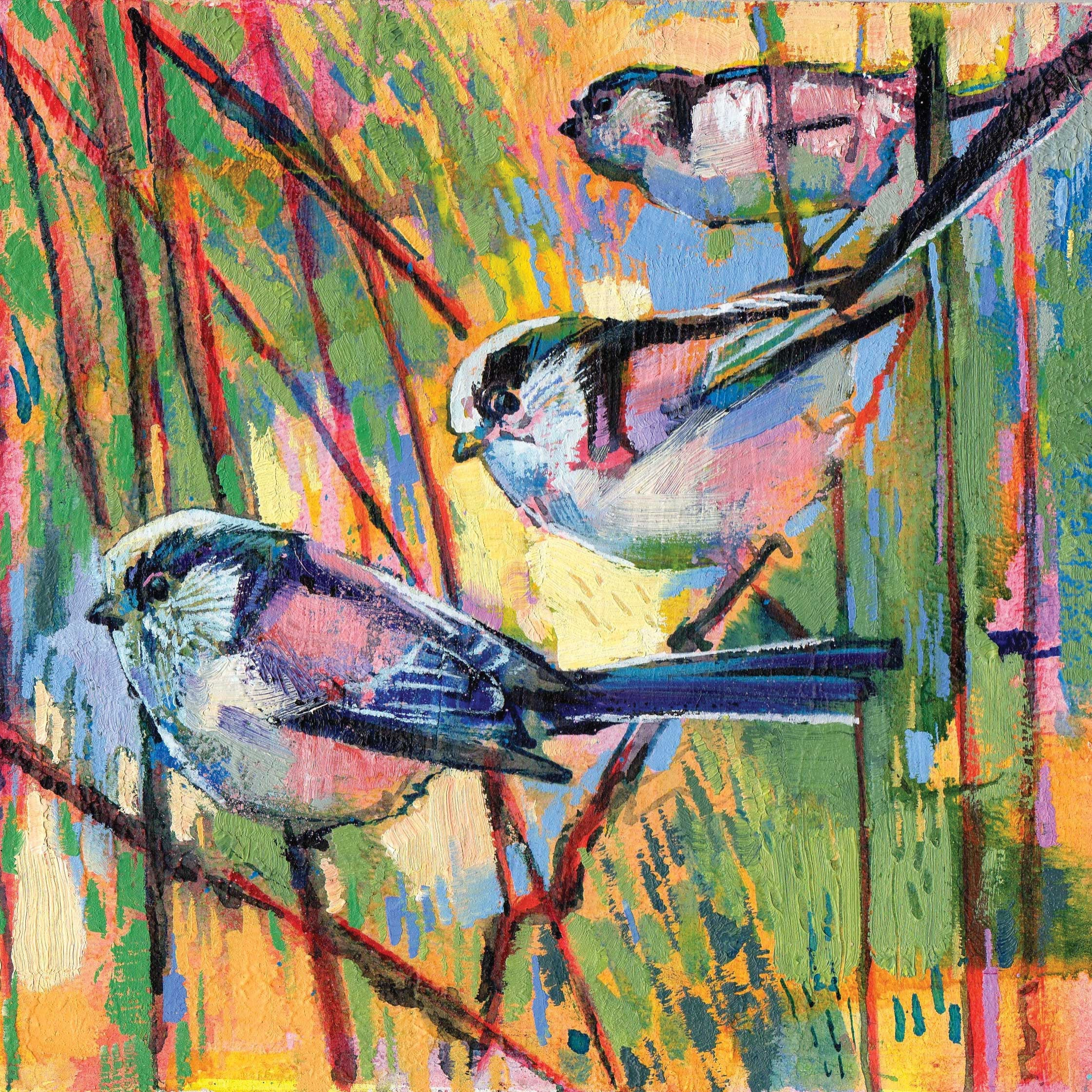 Long Tailed Tits by Daniel Cole, Fine Art Greeting Card, Oil on Board, Three long tailed tits