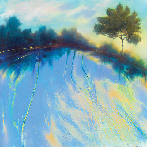 Morning Light by Daniel Cole, Fine Art Greeting Card, Oil on Canvas, Blue landscape with trees