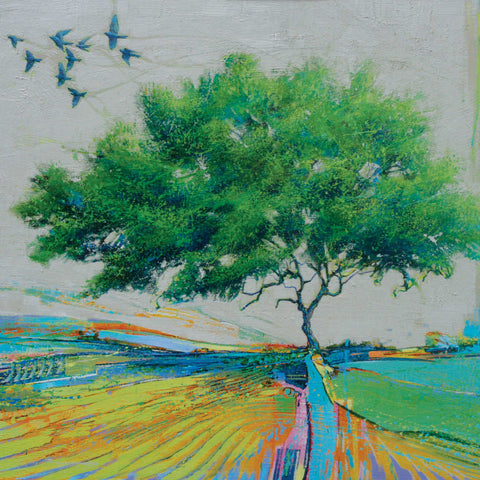 Nine Birds and a Single Tree by Daniel Cole, Fine Art Greeting Card, Oil on Board, Nine birds and one tree