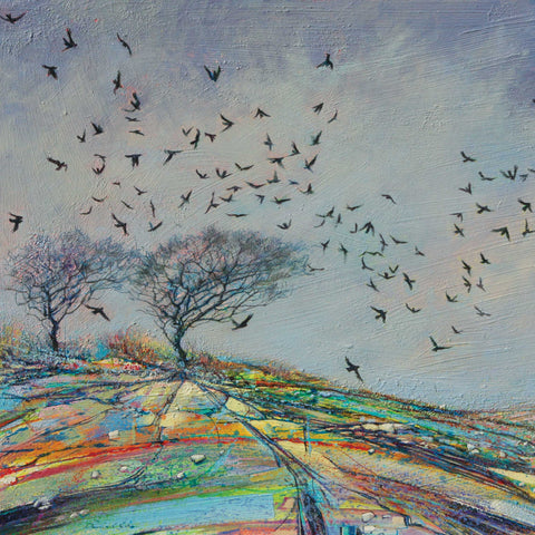 Winter Crows by Daniel Cole, Fine Art Greeting Card, Oil on Board, Lots of crows and two trees