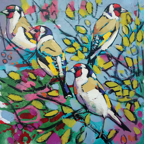 Fine Art Greeting Card by Daniel Cole, Oilpainting, Four Goldfinches in a tree