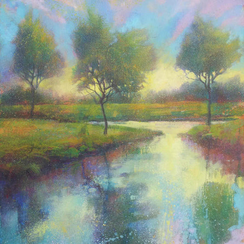 Fine Art Greeting Card by Daniel Cole, Oilpainting, Trees reflected in the river