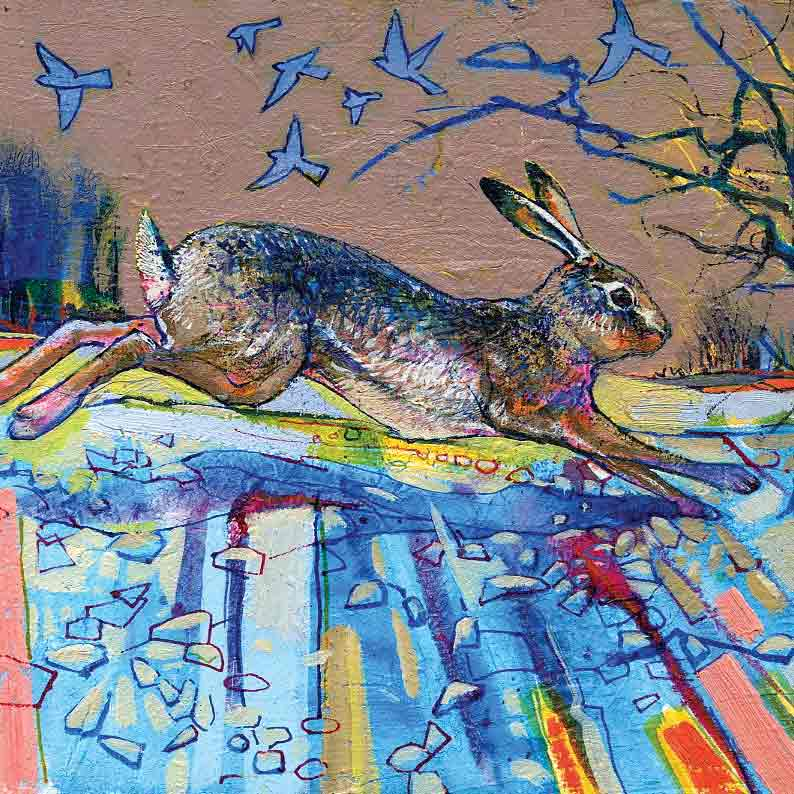 Fine Art Greeting Card by Daniel Cole, Oilpainting, A leaping hare and winter birds