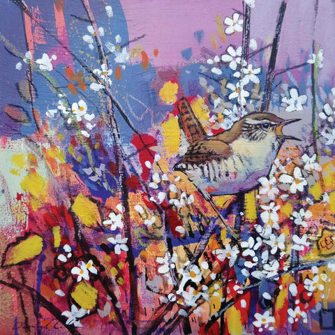 Art Greeting Card by Daniel Cole, Singing Wren, Oil on Board, Wren singing in blossoms