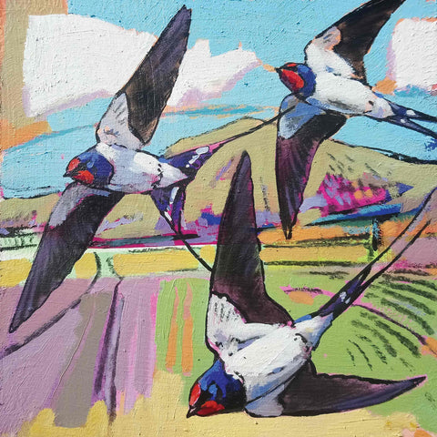 Art Greeting Card by Daniel Cole, Swallows, Oil on Board, Swallows flying over field