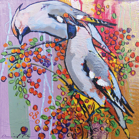 Art greeting card by Daniel Cole, two waxwings eating berries