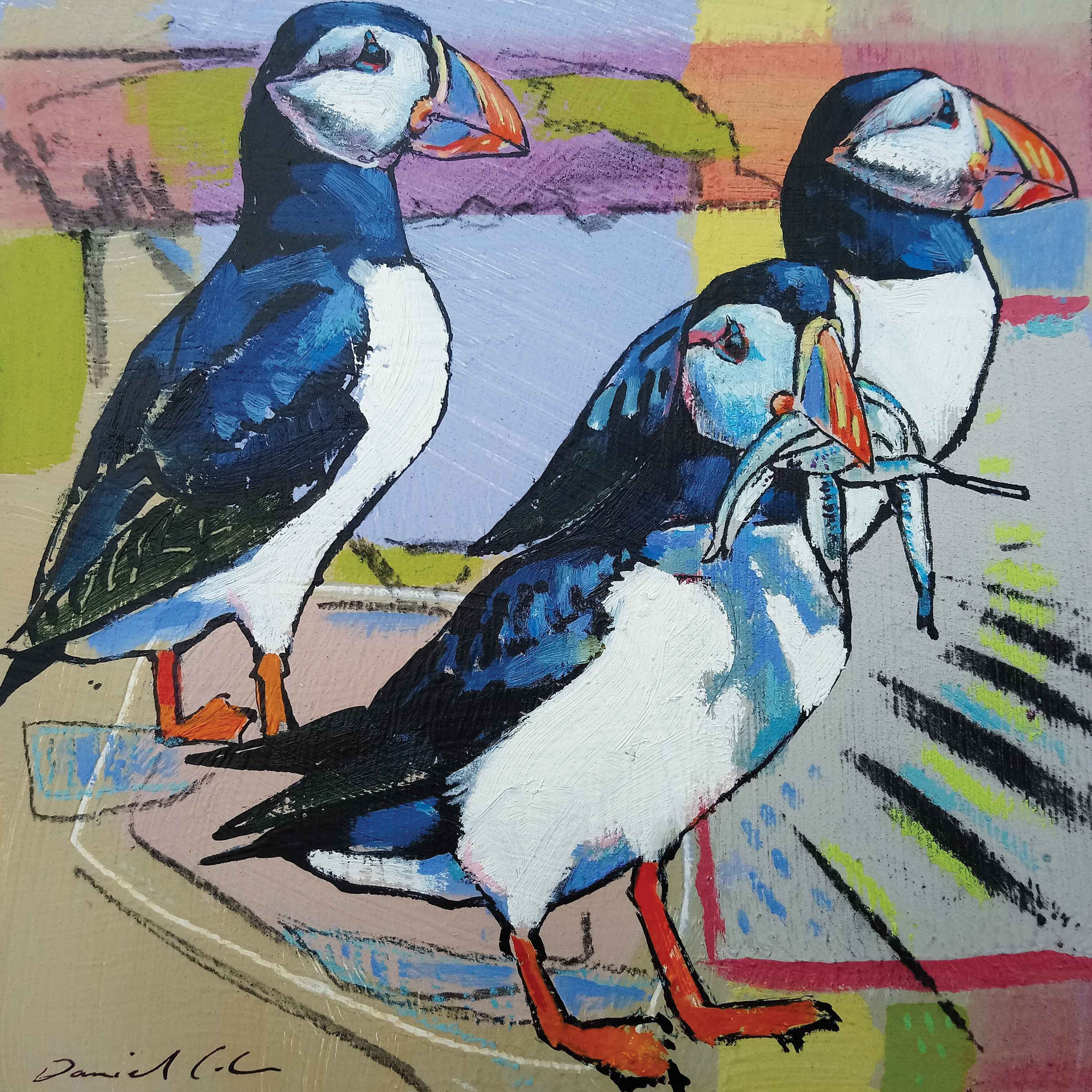 Art greeting card by Daniel Cole, Three puffins