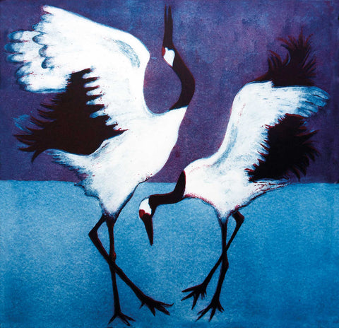 Art Greeting Card, Aquatint, Two cranes dancing on the ice