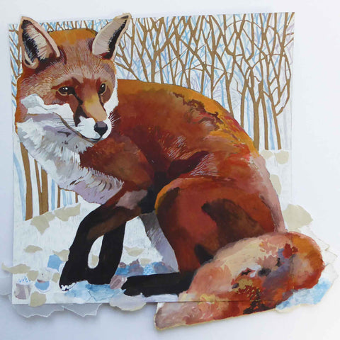 Art greeting card by Elizabeth McCrimmon, A Fox Jumped Out, mixed media, winter scene with fox