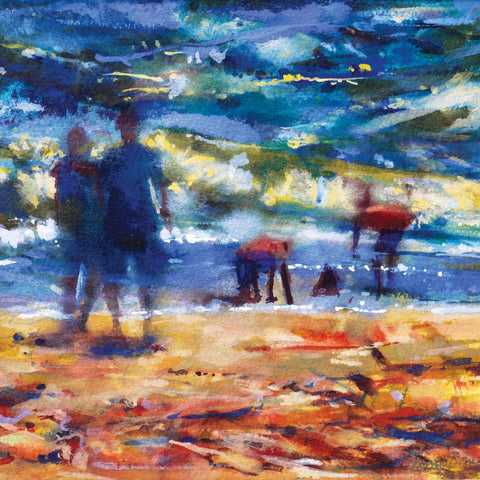 Art Greeting Card by Francis Bowyer, Castles in the Sand, Watercolour, Children playing on beach