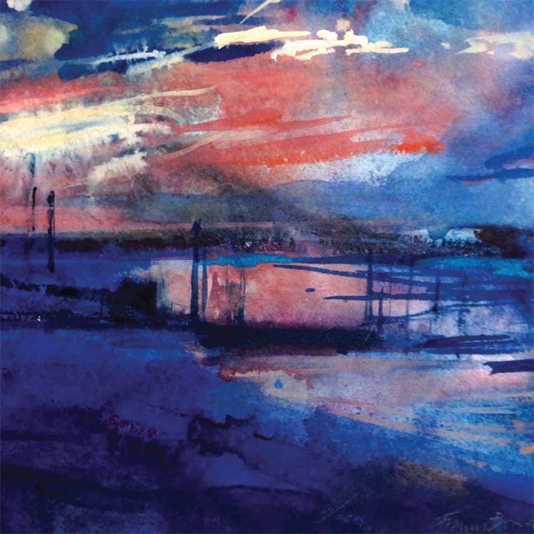 Fine Art Greeting Card, Sunset over river