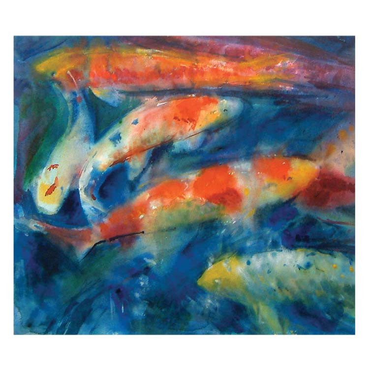 Fine Art Greeting Card, Koi swimming