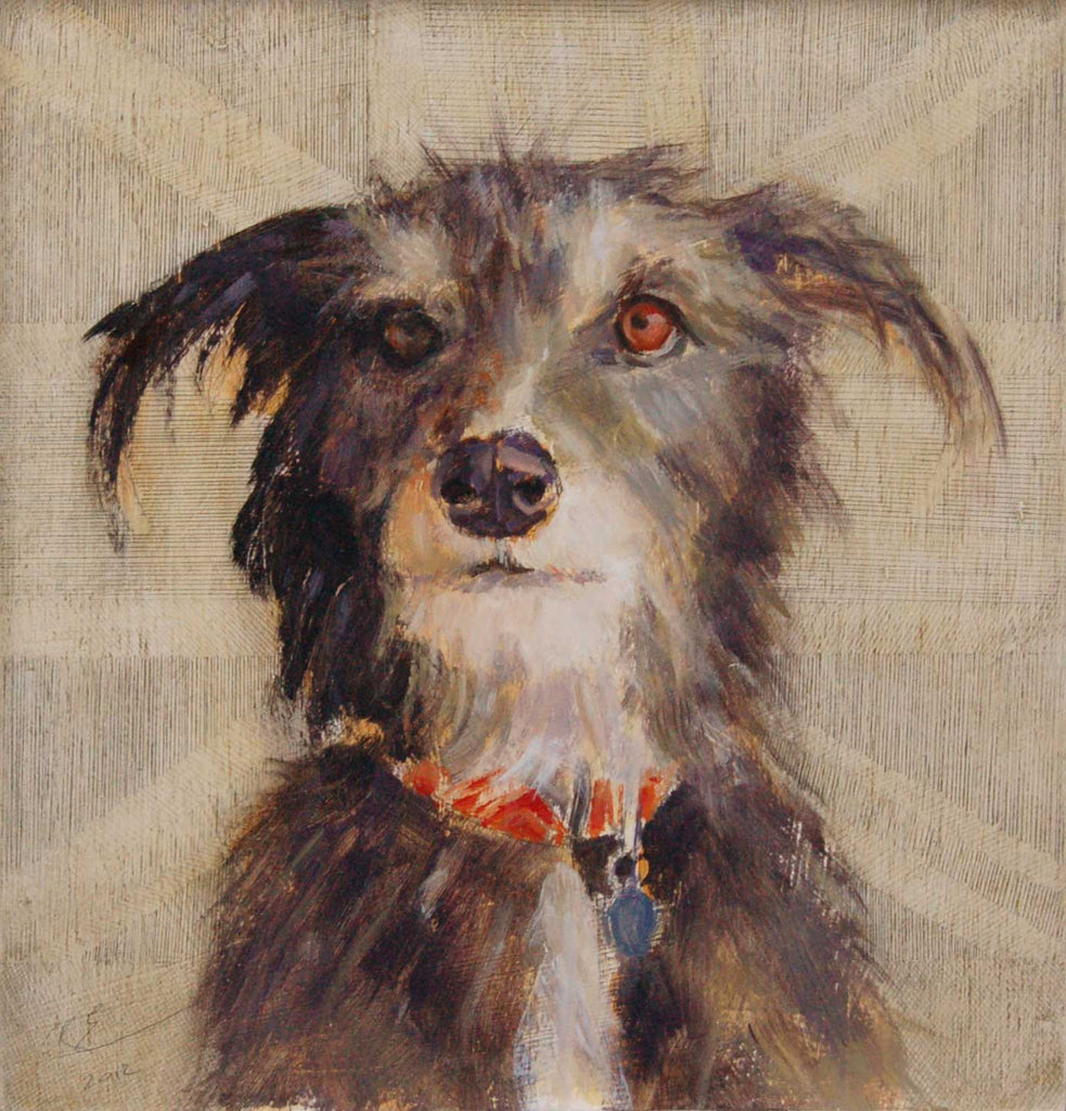 Fabian by Claire Eastgate, Fine Art Greeting Card, Oil on Wood Panel, Lurcher