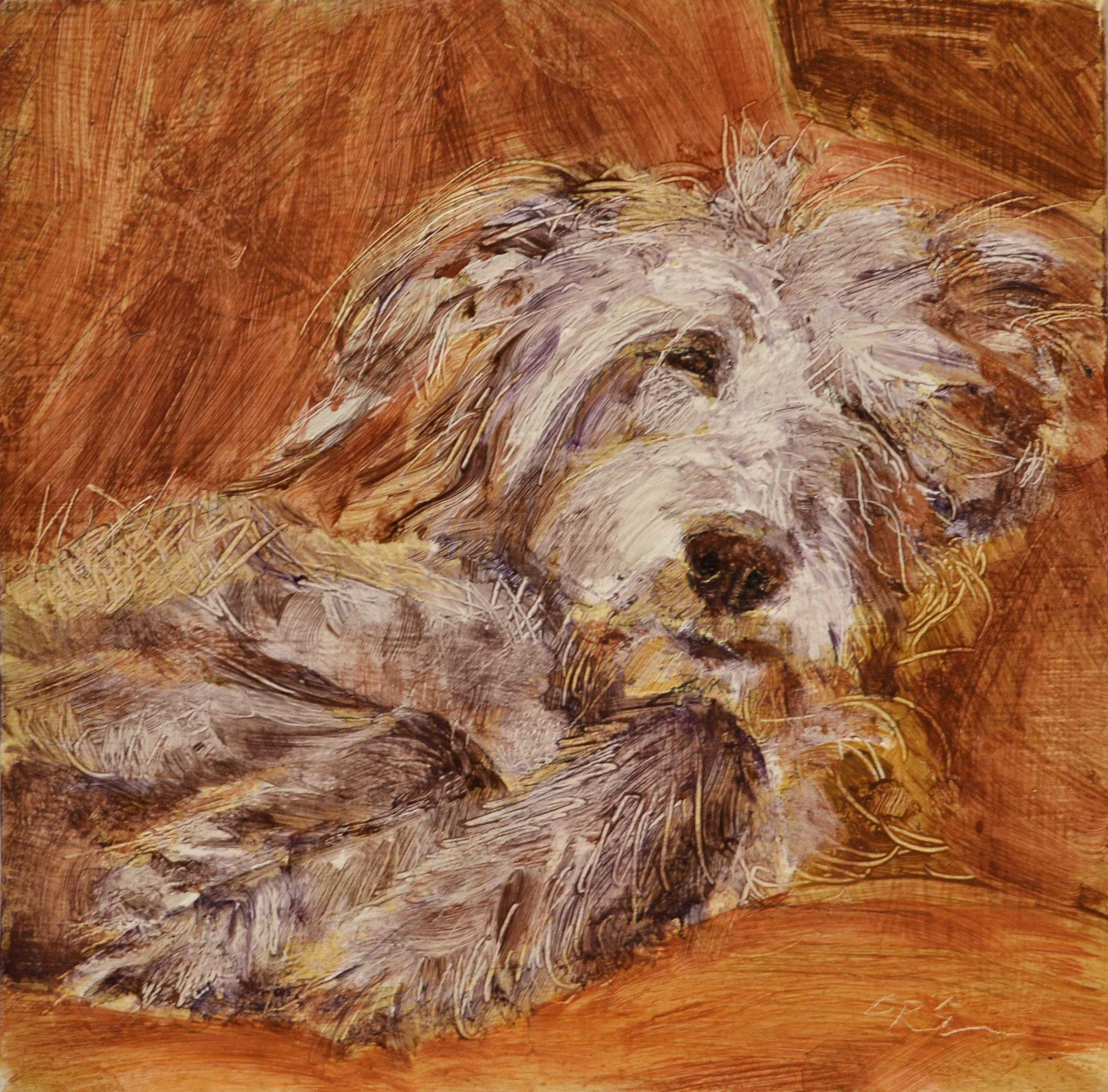 Fern by Claire Eastgate, Fine Art Greeting Card, Oil on Canvas, Sleeping dog