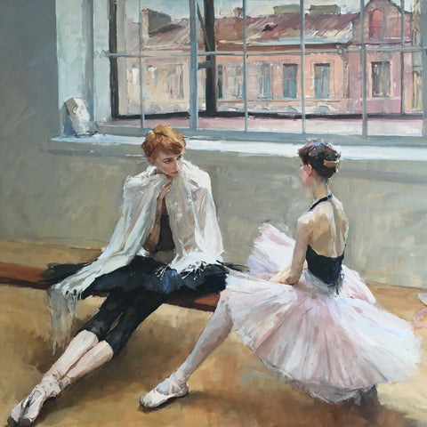 In the Studio by Valeriy Gridnev, Fine Art Greeting Card, DRP Award, Oil painting, Two ballet dancers in the studio