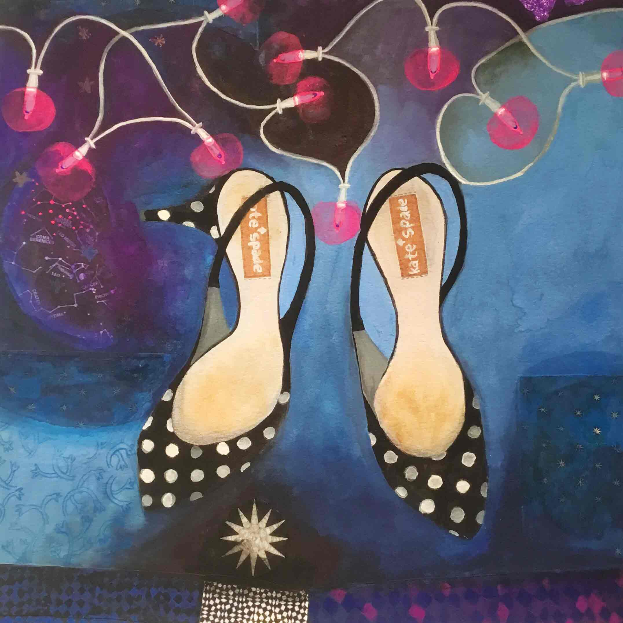 Art Greeting Card by Gertie Young, Kitten Heels and Fairy Lights, Watercolour and Gouache, Kitten heel shoes and fairy lights