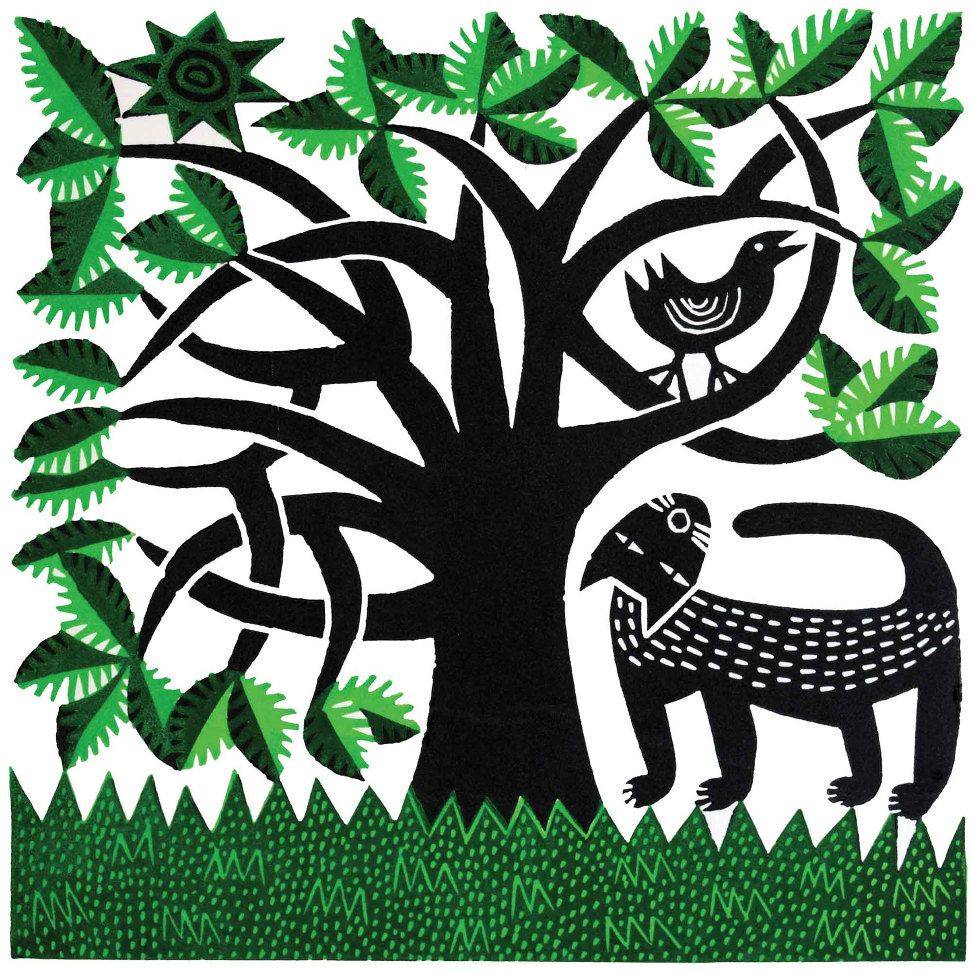 Cat and Bird by Hilke MacIntyre, Art Greeting Card, Linocut, Cat looking at bird in tree