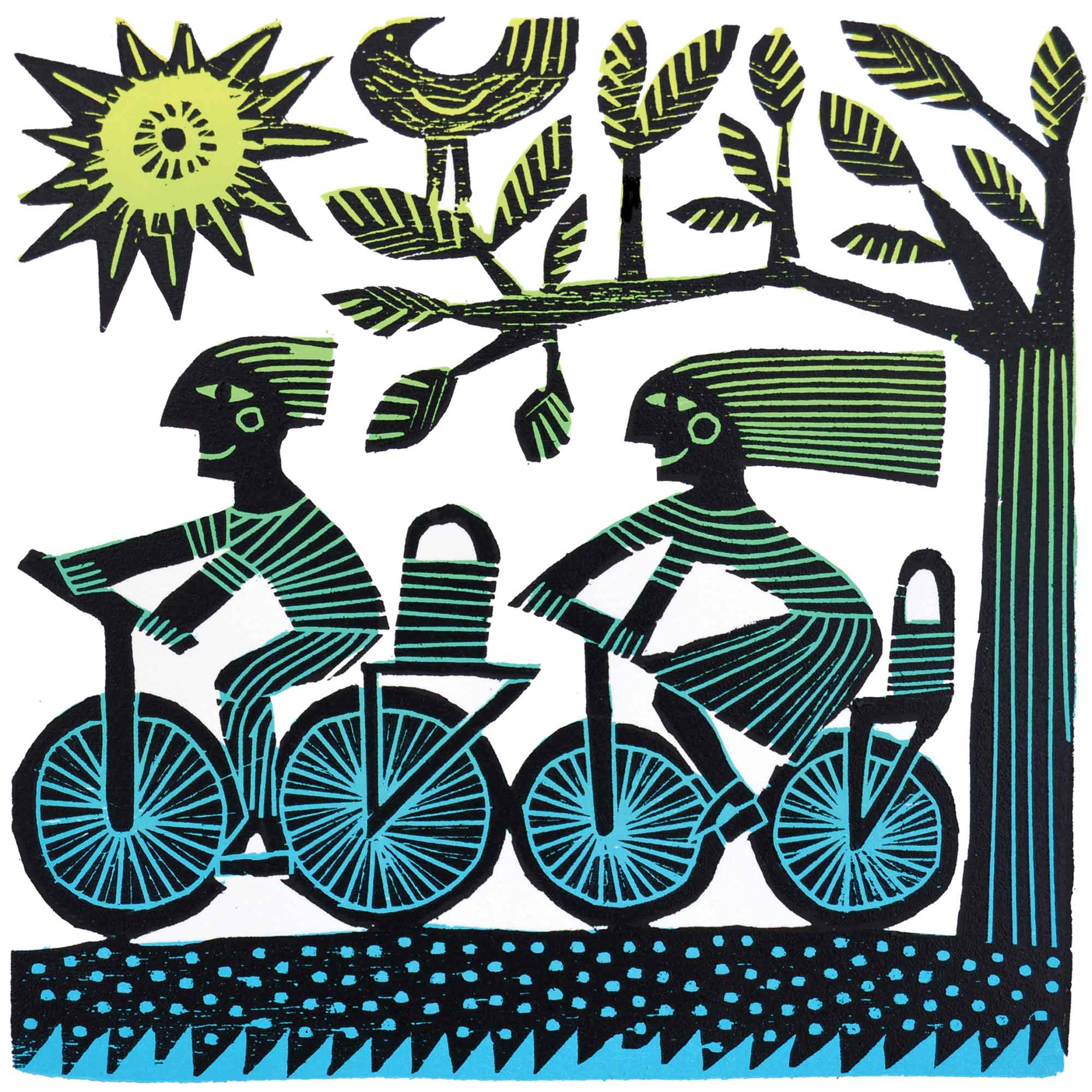 Cyclists by Hilke MacIntyre, Art Greeting Card, Woodcut, Two cyclists