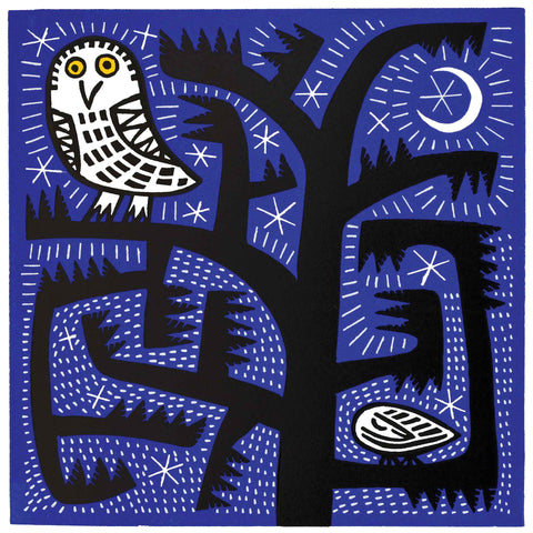 Owl at Night by Hilke MacIntyre, Art Greeting Card, Linocut, Owl in tree with moon