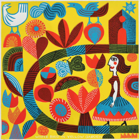 White Bird in Yellow Garden by Hilke MacIntyre, Art Greeting Card, Linocut, White bird and woman in colourful garden